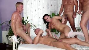 Hot group sex with the gang PornDoe