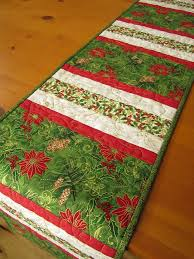 Handmade Christmas Table Runner Quilted Stripes | Christmas ... & Handmade Christmas Table Runner Quilted Stripes Adamdwight.com