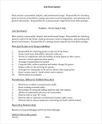 front desk job strong sample description 10 examples in word hotel manager