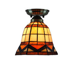modern retro mini hexagon hanging light vintage stained glass shade ceiling lamp for corridor balcony