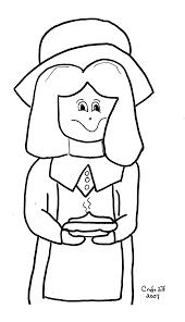 Pilgrim Girl Free Coloring Page