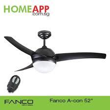 singapore fanco acon 52 ceiling fan with light and remote matt black