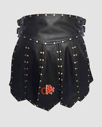 mens black leather gladiator kilt