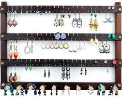 Hanging Necklace Organizer Wall Mount Earring Holder Wooden Hanging Jewelry Organizer