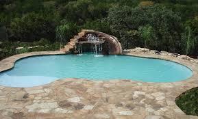 backyard pool with slides. Custom Swimming Pools - Freeform Pool With Rock Waterfall, Grotto, Slide By Oasis Backyard Slides