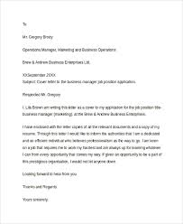 Business Resume Cover Letter
