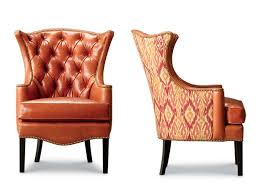 chair design ideas tufted leather wingback chair caramel brown upholstered leather armchair with wooden legs