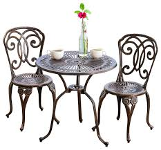 outdoor cafe table and chairs. Awesome Metal Cafe Table And Chairs Budapest 3 Piece Outdoor Bistro Set Contemporary Pub O