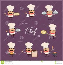Culinary Design Concepts Various Poses Of Cook And Chef Flat Vector Illustration
