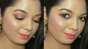 makeup tutorial using the new lakme illuminating sabyasachi eyeshadow palette french rose you