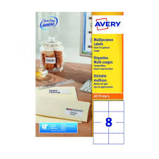 avery sheet labels avery ultragrip multi labels 105x74mm 8 per sheet white pack of 800 dps08 100
