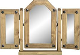 dark corona triple swivel mirror distressed waxed pine