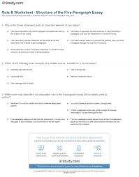 example of a five paragraph essay quiz worksheet structure of the five paragraph essay