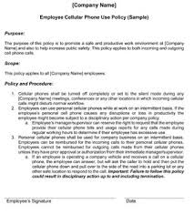 Employee Cell Phone Policy Template Small Business Free Forms