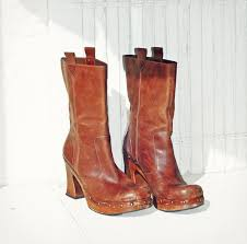 vintage brown leather platform boots with chunky wood heel size 8 9 distressed clog ankle grunge