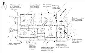 a floor plan of a home with passive cooling features noted louvre windows are