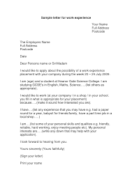 Cover Letter For Work Experience Placement Sample Paulkmaloney Com