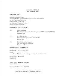 Sample Resume Science Research Format Of Curriculum Vitae Cv