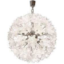 murano chrome and glass flower ball chandelier for