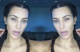 kim kardashian goes pletely makeup free flashes her curves in makeup tutorial video