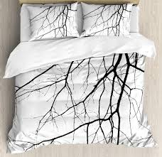 black and white duvet cover set macro leafless winter tree branches idyllic twigs of oak nature print bedding set black nz 2019 from baibuju8