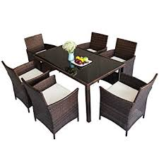 merax 7 piece outdoor wicker dining set dining table set for 6 patio