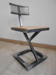 metal furniture designs. chaise design metal brut bois style industriel artisanal unique furniture designs