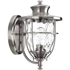 progress lighting beacon collection 1 light 8 inch stainless steel outdoor wall lantern p6026 135di the home depot