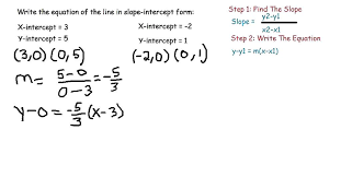 how to write the equation in slope intercept form given the x and y intercepts