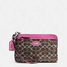 COACH f52455 L-ZIP WRISTLET IN SIGNATURE SILVER BROWN FUCHSIA