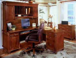 wood desks for home office. Wooden L Shaped Desk With Hutch And Drawer Plus Computer Set Armchair On An Home Wood Desks For Office