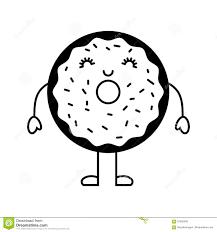 Carattere Dolce E Delizioso Di Kawaii Della Ciambella Illustrazione