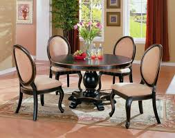 luxury looking dining room with deep espresso round dinette sets solid mahogany wood tables and handcrafted hardwood pedestal table base