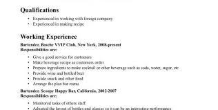 Resume Objective For Server Bartender Bar Server Resume Sample