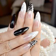 Black And White Nail Designs Acrylic Nails Us 2 14 20 Off Extra Long Acrylic Nail Art Tips Classic Black White Zebra Design Sharp Stiletto Fake Nails Glitter Decorations Accessories Z749 In