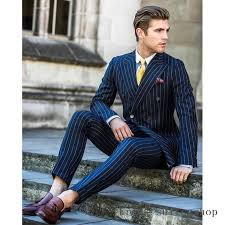 2018 Men Suit <b>2 Pieces Double</b> Breasted Suits Navy Striped Tuxedo ...