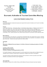 Economic Activation & Tourism Committee Meeting UNCONFIRMED MINUTES