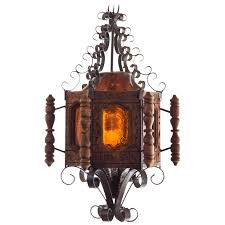 1960s spanish revival or mexican pendent light wrought iron for
