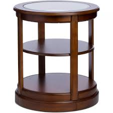 round wood end table with glass top end table