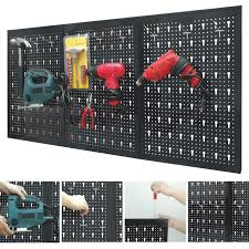 peg board garage wall tool rack 3 panel hanging storage