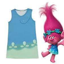 super popular cosplaydiy cartoon trolls poppy dress princess flower kids girls trolls birthday party dress cotton