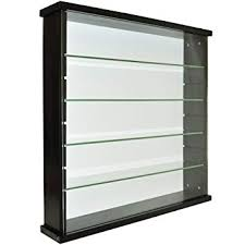 glass wall display cabinet. Perfect Display WATSONS EXHIBIT  Solid Wood 4 Shelf Glass Wall Display Cabinet Black And A