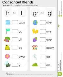 Check out our collection of consonant blend worksheets for kids. Consonant Blends Missing Letter Worksheet For Education Stock Vector Image 50906130 Blends Worksheets Consonant Blends Worksheets Phonics Worksheets