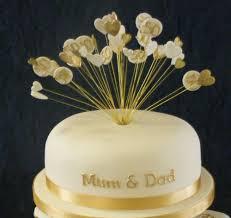 Handmade Wired Golden 50th Wedding Anniversary Heart Cake Topper