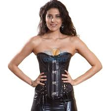 whole black ribbon buckle victorian steampunk costume steel bones leather corset cf5328 corsetsfly