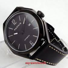 <b>43mm PARNIS black dial</b> PVD date sapphire glass miyota 8215 ...