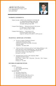 6 Example Of Resume Philippines Inta Cf