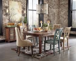 dining room rectangular brown wooden dining table and blue white wooden chair plus brown pattern