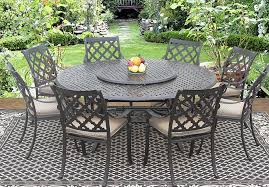 camino real cast aluminum outdoor patio 9pc dining set 8 dining chairs 71 inch round table 35 lazy susan series 5000 with sunbrella sesame linen cushion