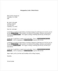 Sample Resignation Letter 2 Weeks Notice Cool 48 Sample Resignation Letters Sample Templates